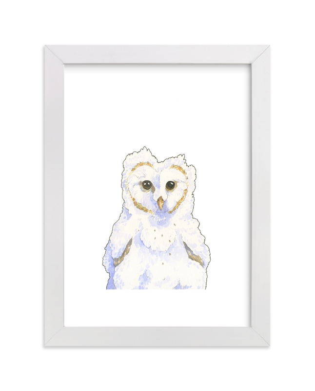 """Obliging Owlet"" - Art Print by Natalie Groves in beautiful frame options and a variety of sizes."