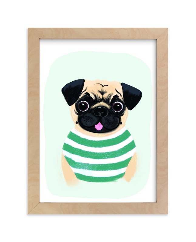 """""""Le Pug"""" - Art Print by Itsy Belle Studio in beautiful frame options and a variety of sizes."""