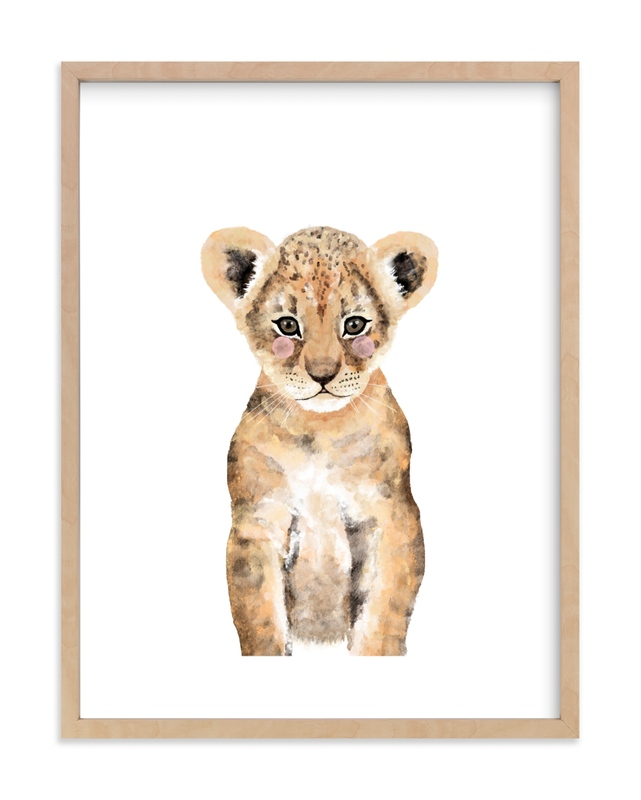 Baby Animal Lion Self-Launch Children's Art Print
