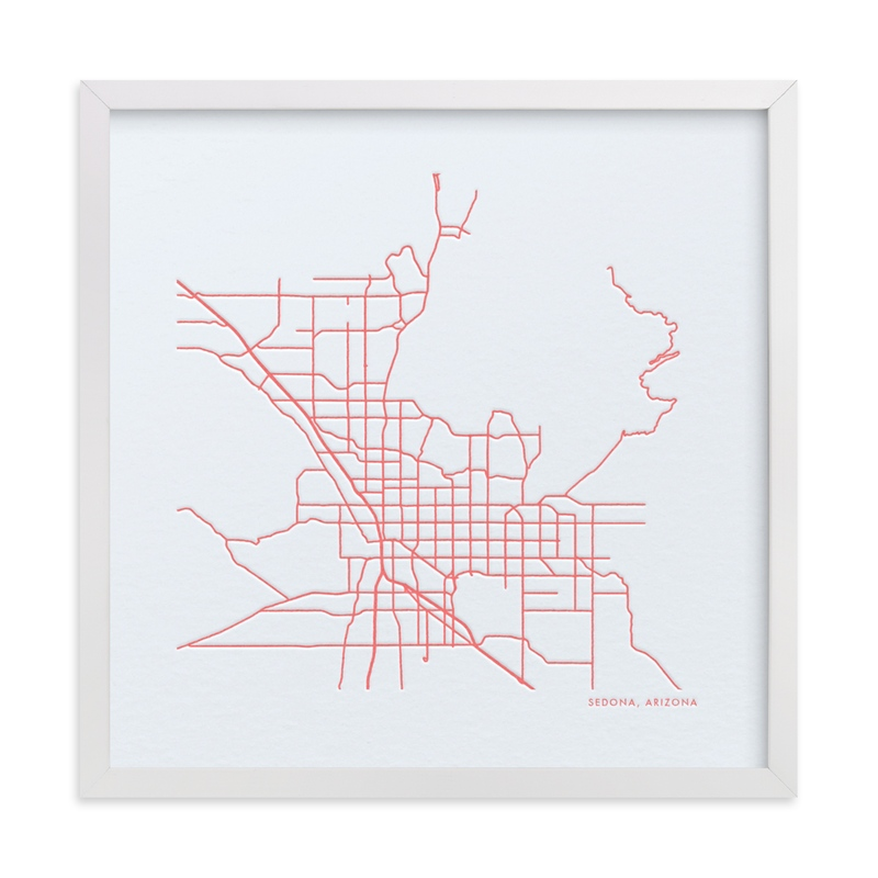 This is a pink custom map printing by Minted called Custom Map Letterpress Art.