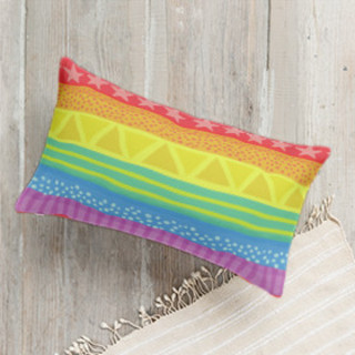 Rainbow Brights Self-Launch Lumbar Pillows