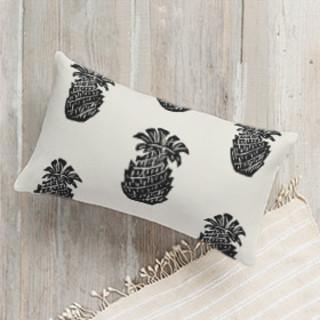 Block Print Pineapple Self-Launch Lumbar Pillows