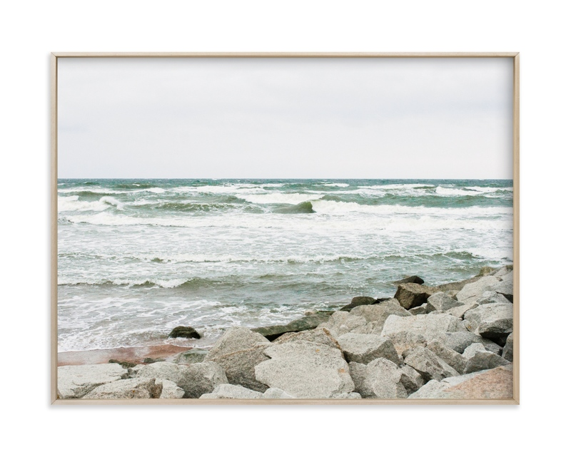 """ 29/5000 White waves and rocky shore"" by Lying on the grass in beautiful frame options and a variety of sizes."