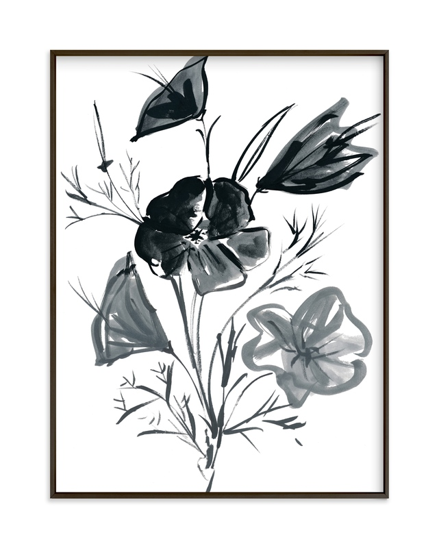 """""""Japanese Flower in Ink"""" by Kim Johnson in beautiful frame options and a variety of sizes."""