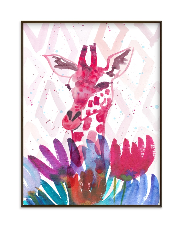 """Giraffe among the Wildflowers"" by Kim Johnson in beautiful frame options and a variety of sizes."