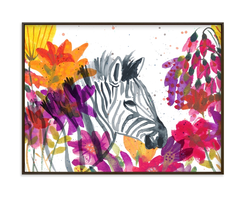 """Zebra Among the Wildflowers"" by Kim Johnson in beautiful frame options and a variety of sizes."