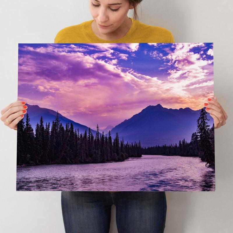 Purple Mountains Majesty wood art earrings