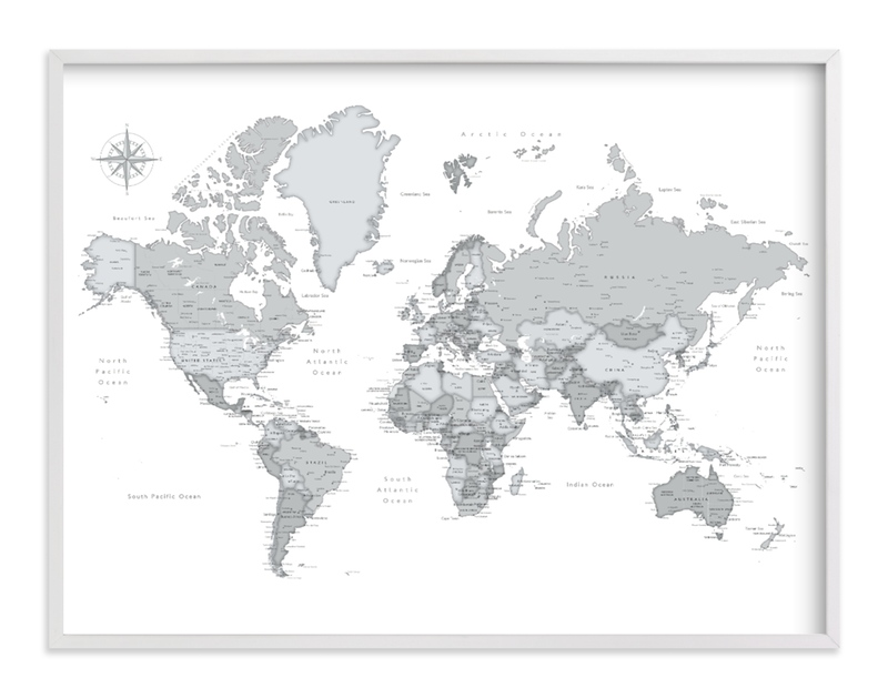 """Dominique world map"" by Rosana Laiz Blursbyai in beautiful frame options and a variety of sizes."