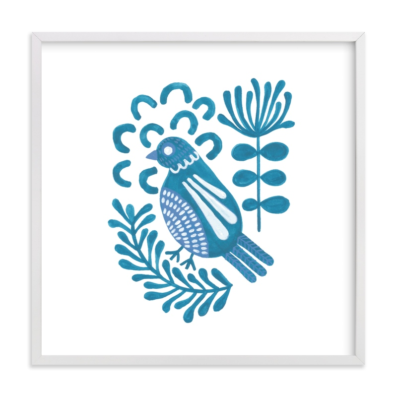 """""""Folk Bird 2"""" by Jen Owens in beautiful frame options and a variety of sizes."""