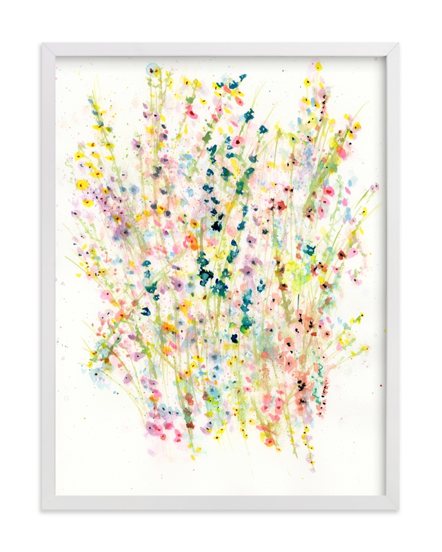 This is a blue art by Lindsay Megahed called Gathering Wildflowers.