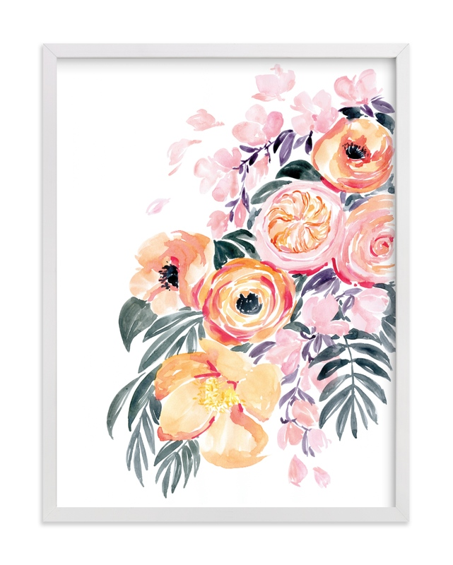 """Danette watercolor bouquet"" by Rosana Laiz Blursbyai in beautiful frame options and a variety of sizes."