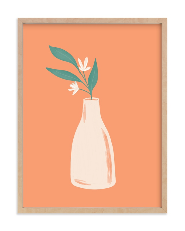 """""""Orange Branch in Vase"""" by Amanda Houston in beautiful frame options and a variety of sizes."""