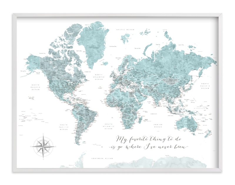 """""""Where I've never been world map"""" by Rosana Laiz Blursbyai in beautiful frame options and a variety of sizes."""