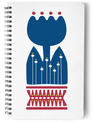 Nordic Blue Flower Notebook Self-Launch Notebook