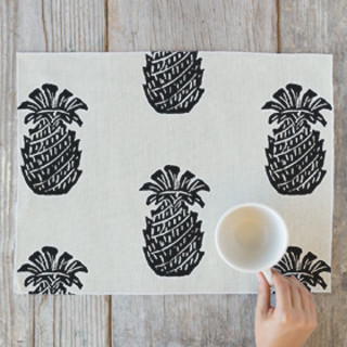 Block Print Pineapple Self-Launch Placemats