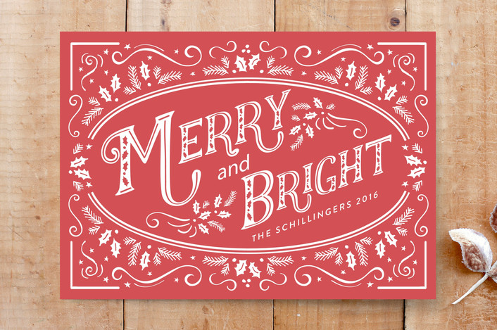 """""""A Glimpse of Holly"""" - Classical, Traditional Colors Custom Stationery in Berry by Chris Griffith."""