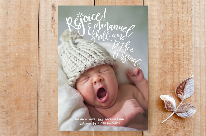 """Rejoice Emmanuel"" - Full-Bleed Photo, Religious Christmas Custom Stationery in Snow by Julie Hebert."