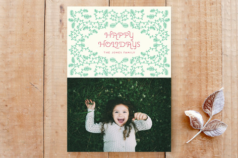 Christmas floral ornament Custom Stationery