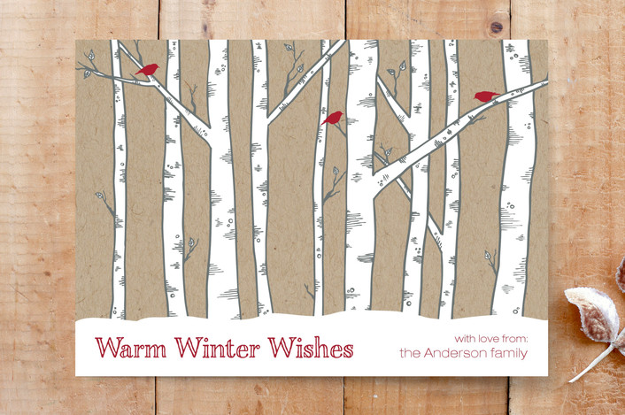 """""""Warm Winter Woods"""" - Hand Drawn, Landscapes Custom Stationery in Cardinal by Janelle Wourms."""