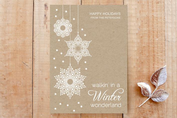 """White Winter Wonderland"" - Chalkboard, Classical Custom Stationery in Kraft Paper by Janelle Wourms."