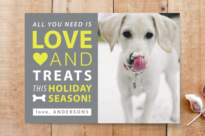 """Love and Treats"" - Animal, Bold typographic Custom Stationery in Smoked by Stellax Creative."