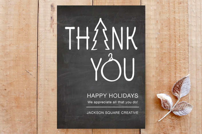 """""""Simply Thank You"""" - Bold typographic, Chalkboard Custom Stationery in Chalkboard by Janelle Wourms."""