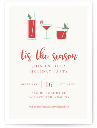 Christmas Cocktails Custom Selflaunch Stationery