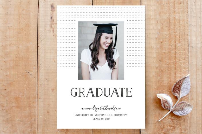 """Classic & Modern Grad"" - Bold typographic, Minimalist Custom Stationery in Ink by Liza Liss."