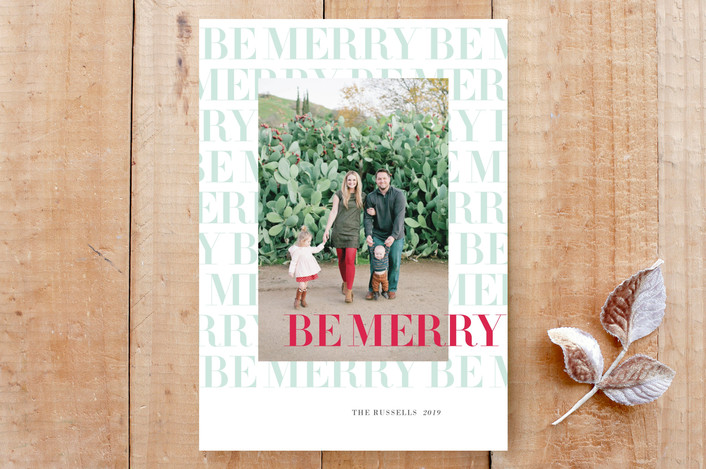 """""""Be Merry, Merry"""" - Bold typographic, Classical Custom Stationery in frost by Ann Gardner."""
