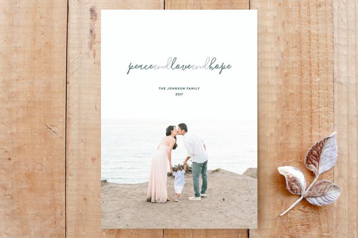 """Peace and Love and Hope"" - Beach, Elegant Custom Stationery in Seashore by Liza Liss."