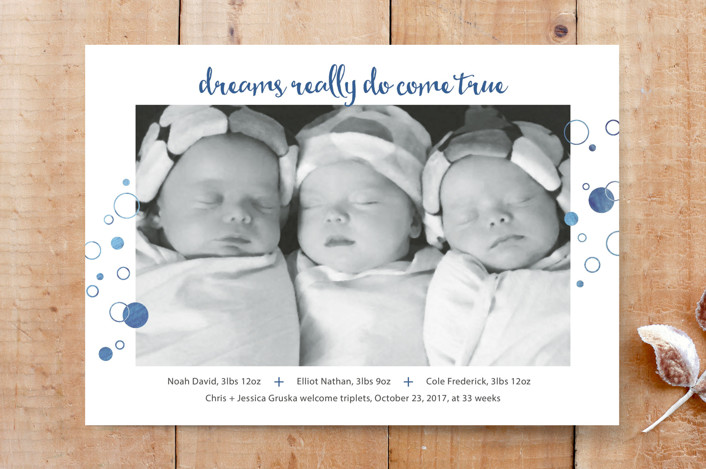 """Dreams Come True"" - Minimalist, Modern Custom Stationery in Denim by Janelle Wourms."