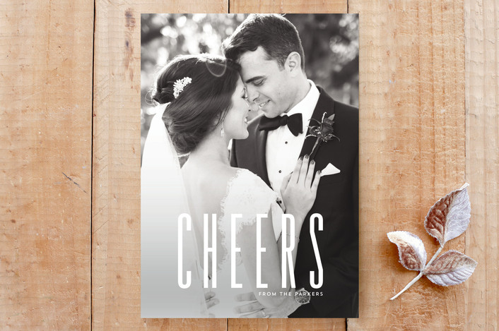 """""""big bold cheers"""" - Bold typographic, Full-Bleed Photo Custom Stationery in snow by Guess What Design Studio."""