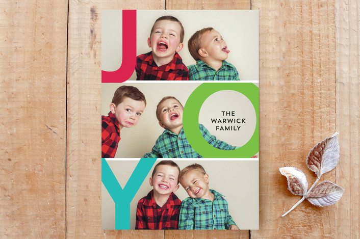 """""""Oh Joyful"""" - Funny, Non-Traditional Colors Custom Stationery in Rainbow Cookie by Salina Mack."""