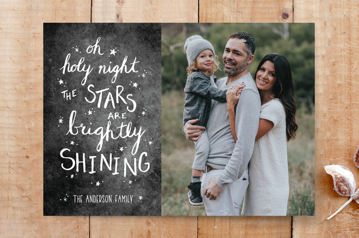 """""""Oh Holy Night Chalk"""" - Chalkboard, Hand Drawn Custom Stationery in Night by Janelle Wourms."""