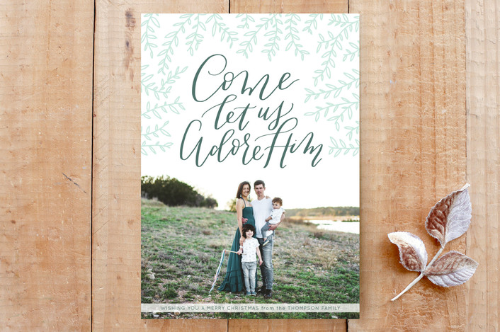 """""""O Come Let Us Adore"""" - Elegant, Floral & Botanical Custom Stationery in Deep Spruce by Carolyn Kach."""