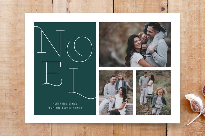 """Noel, Noel"" - Bold typographic, Religious Christmas Custom Stationery in Jade by Carolyn Kach."