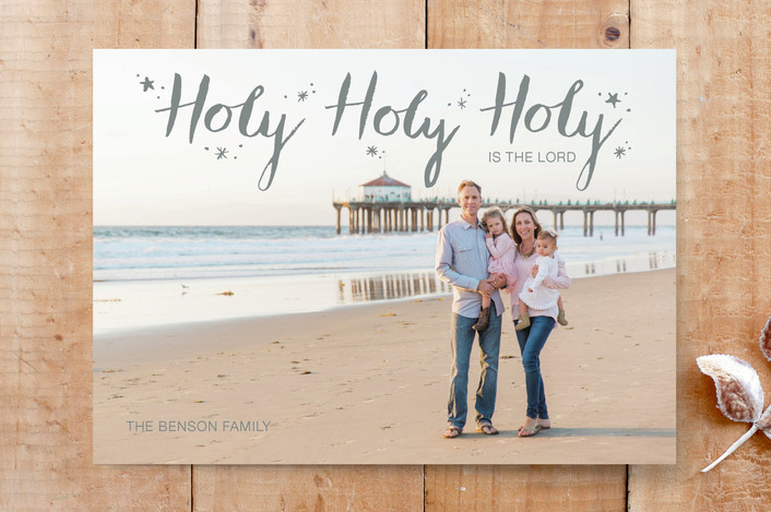 """""""Holy Holy Holy"""" - Full-Bleed Photo, Hand Drawn Custom Stationery in Charcoal by Janelle Wourms."""