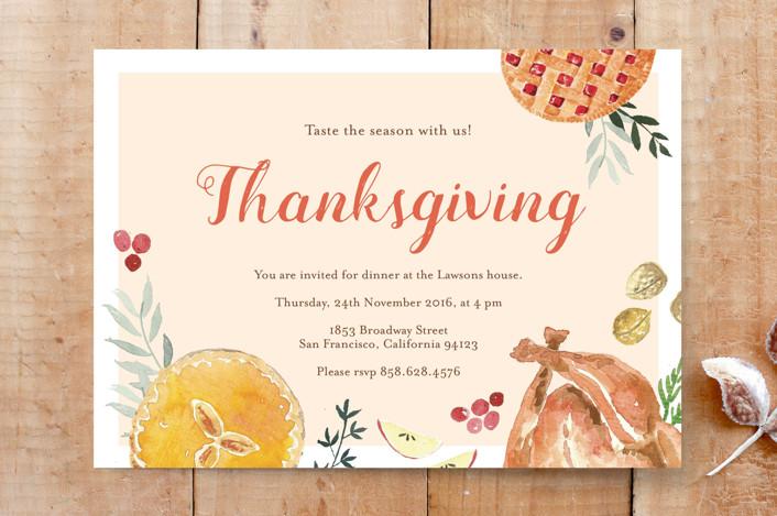 """""""Joyful Thanksgiving"""" - Food, Hand Drawn Custom Stationery in Creme by frau brandt."""