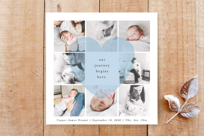 """""""Our Journey Begins Here"""" - Birth Announcement, Elegant Custom Stationery in Sky by Bethany McDonald."""