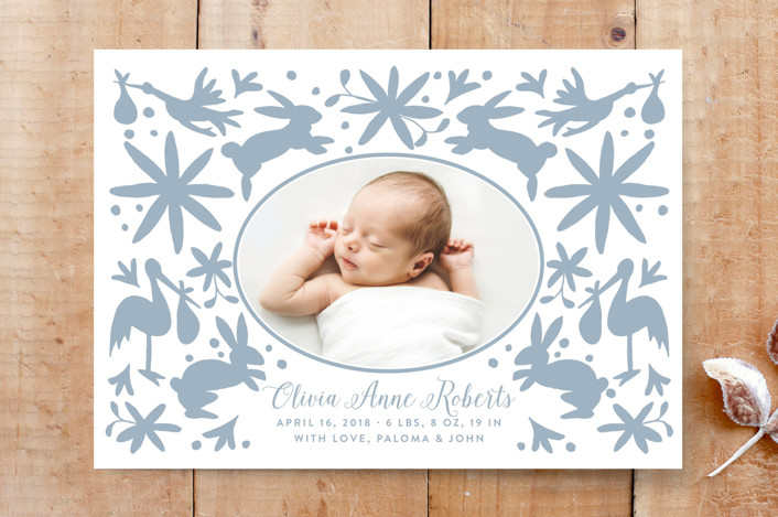 """""""Baby Otomi"""" - Animal, Birth Announcement Custom Stationery in Azul by Lagniappe Paper."""