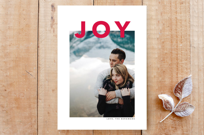 """""""simply modern joy"""" - Bold typographic, Minimalist Custom Stationery in amaranth by Guess What Design Studio."""