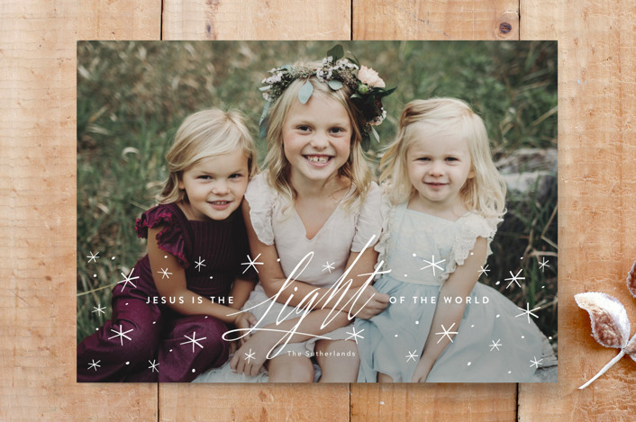 """light of the world"" - Elegant, Full-Bleed Photo Custom Stationery in snow by Guess What Design Studio."