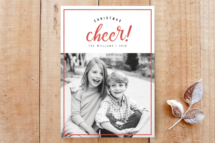 """Cheerful Christmas"" - Rustic/Craft, Simple Custom Stationery in Holly Berry by Bethany McDonald."