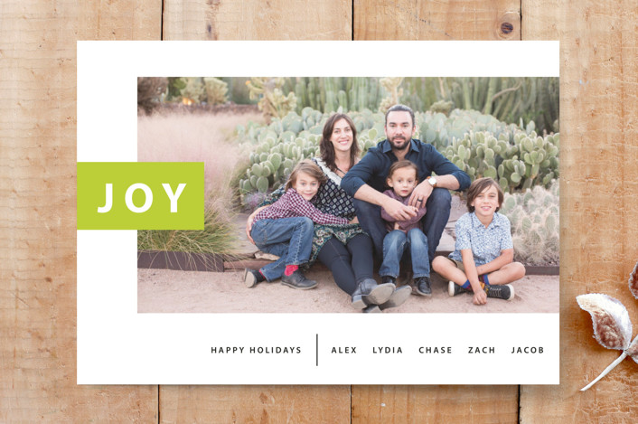 """""""Mod Tab Holiday Card"""" - Bold typographic, Minimalist Custom Stationery in Green Apple by Luckybug Designs."""