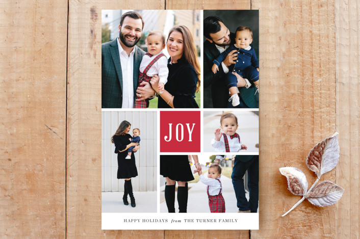 """""""Joyful Montage Holiday Card"""" - Classical, Preppy Custom Stationery in Holly by Luckybug Designs."""
