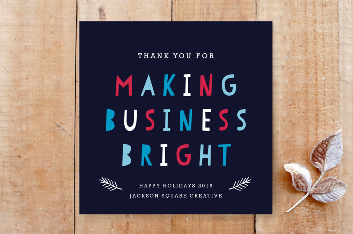 """""""Making Business Bright Corporate Holiday Card"""" - Bold typographic, Craft Custom Stationery in Berry by Luckybug Designs."""