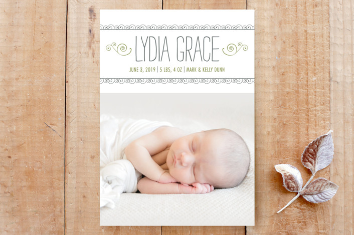 """Curlicues Birth Announcement"" - Birth Announcement, Bohemian Custom Stationery in Fern by Luckybug Designs."
