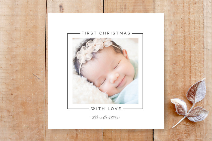 """""""Simple First Christmas"""" - Birth Announcement, Minimalist Custom Stationery in Coal by Christie Garcia."""