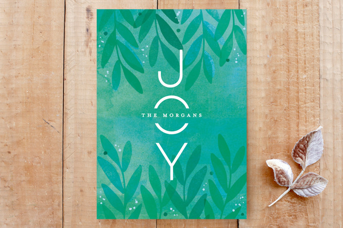 """""""Festive and Floral"""" - Abstract, Flora & Fauna Custom Stationery in Emerald by Hooray Creative."""