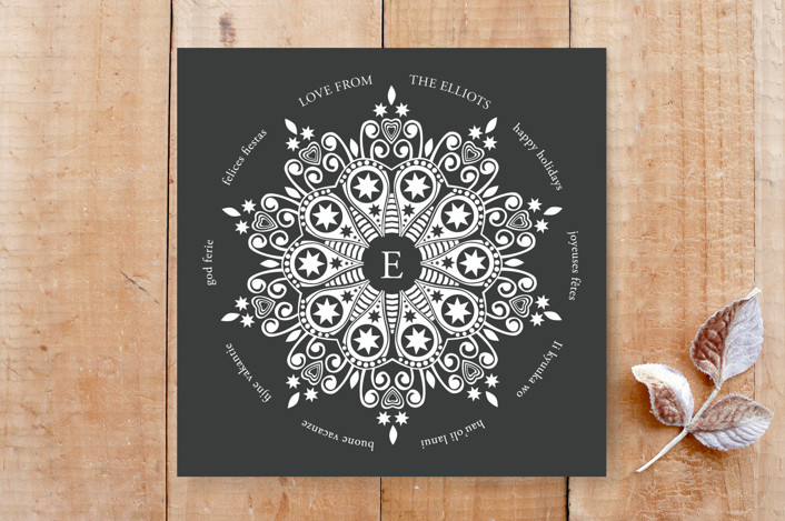 """""""Elegance Squared"""" - Classical, Dual-Language Custom Stationery in Coal by Janelle Wourms."""